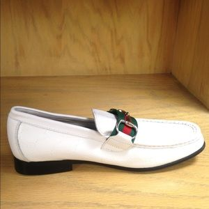 White Embossed Moccasins